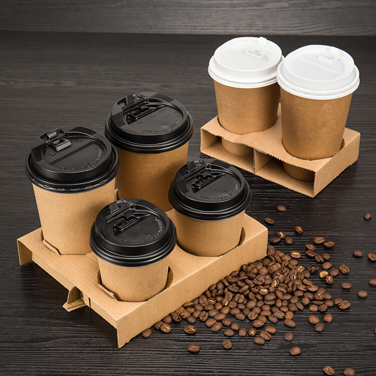 Custom Logo Printed Disposable Coffee Paper Cup Holder Kraft Paper Cup Holder