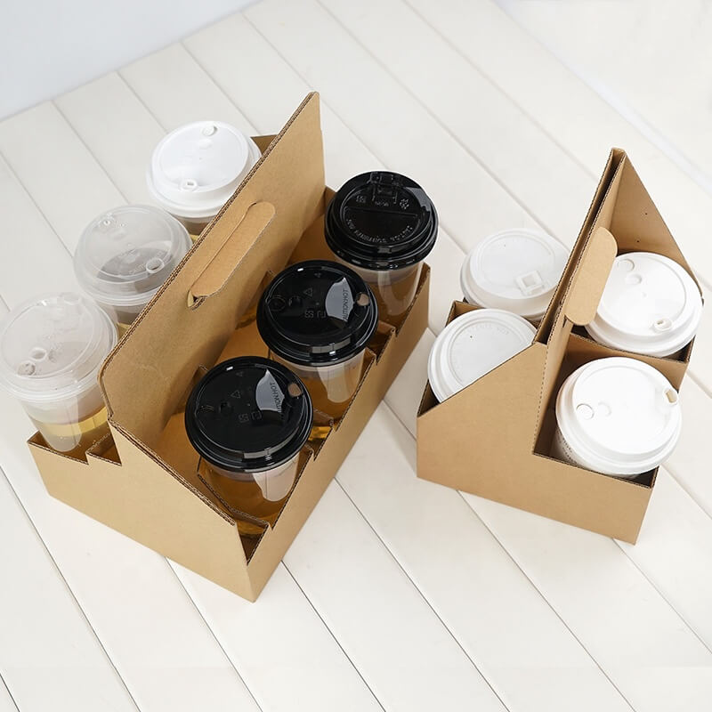 Customized Disposable Cardboard Cup Holders,Coffee Paper Cup Holder With Handle,Paper Cup Holder