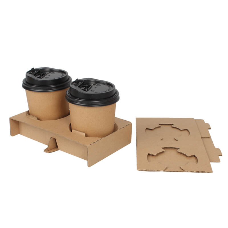 Customized Durable Disposable Corrugate Paper Hot Drink Paper Cup Holder For Cup Packing