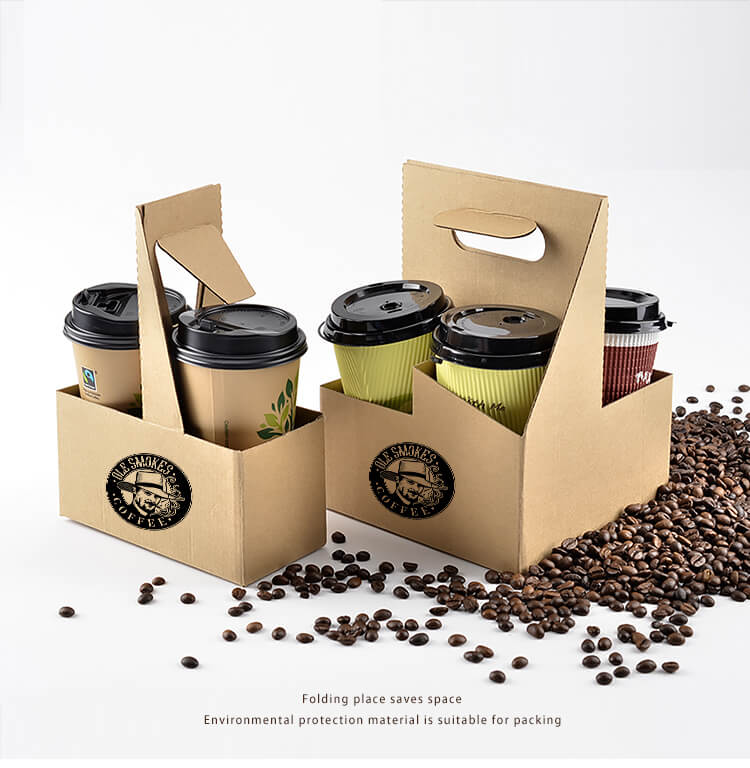 Customized Paper Coffee Cup Holder Take Away Paper Cup Holder Tray