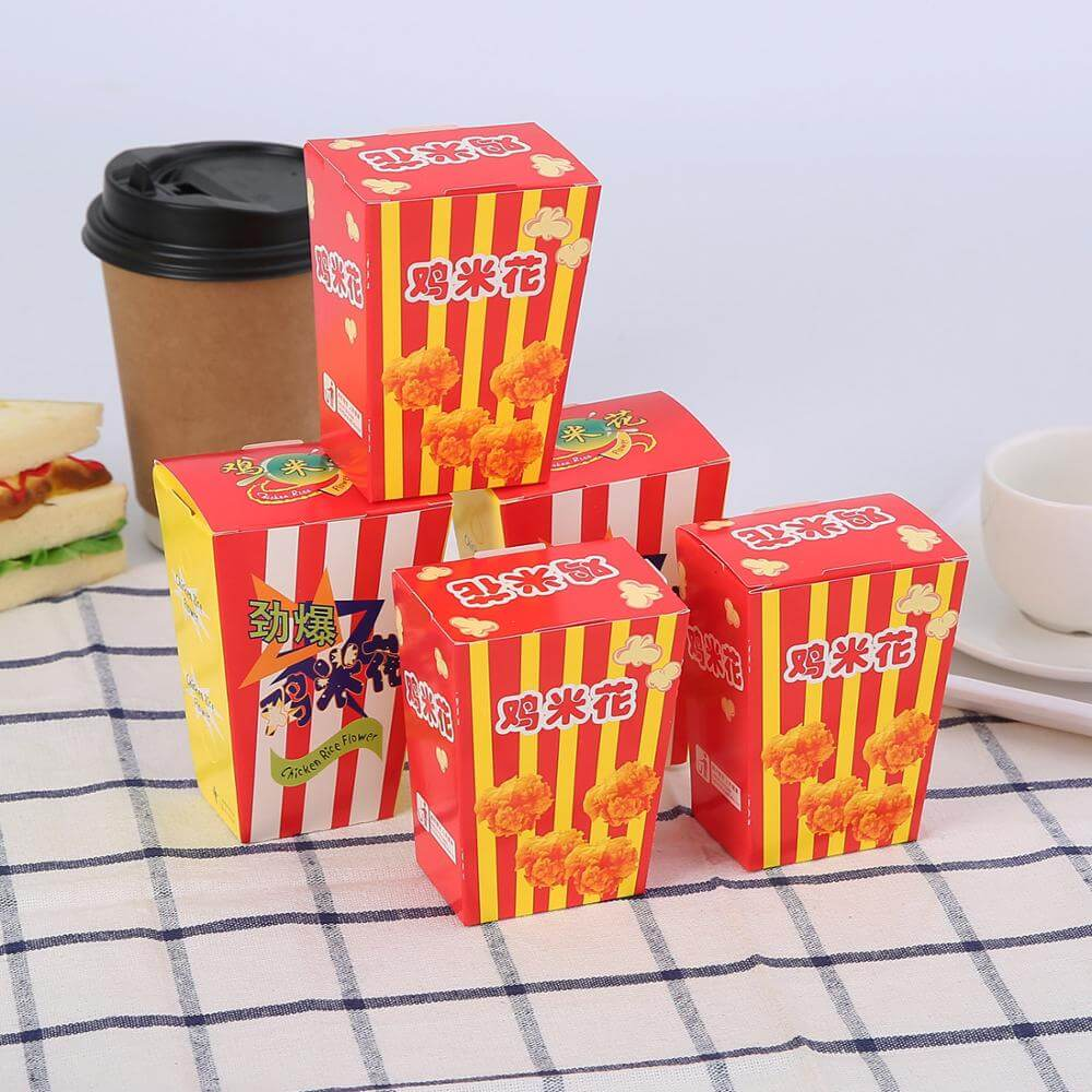 Customized Popcorn Chicken Takeaway Food Package Paper Container