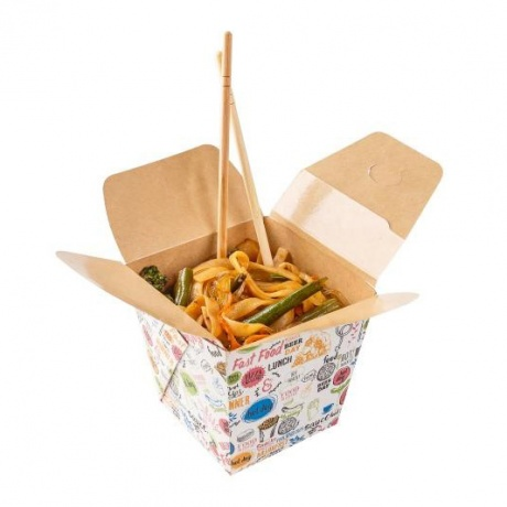 Customized Food Packaging Disposable Kraft Paper Noodle Box
