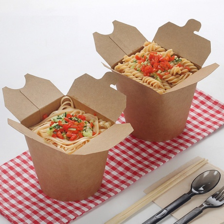 Custom Food Grade Disposable Kraft Paper Noodle Box