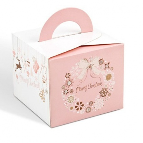 Custom Made Food Grade Coated Paper Take Away Cake Box With Handle