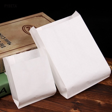 Customized Square Bottom Bag Food White Brown Kraft Greaseproof Paper Takeaway SOS Lunch Bags For Packing
