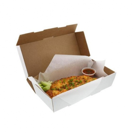White Kraft Paper Hamburger Pizza Salad Fried Chicken Pasta Box With Handle Custom Design Logo Size Colour