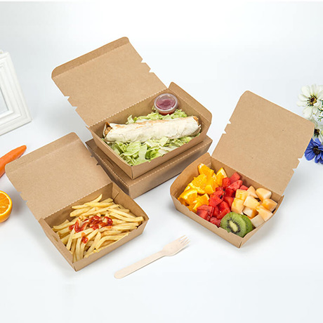 Customized Disposable Printable Kraft Paper Food Box Food Packing Lunch Box Paper Salad Box