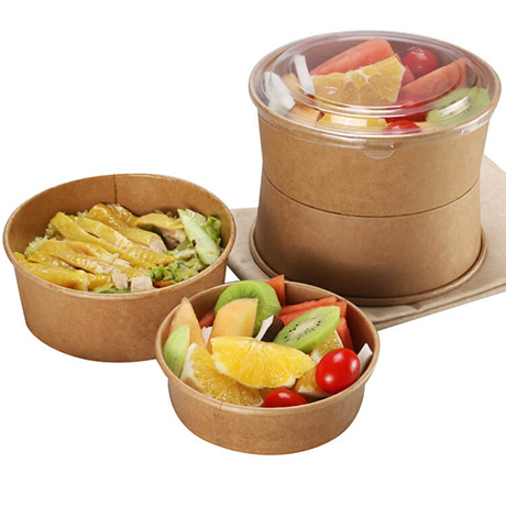 Customized 500ml 750ml 1000ml Biodegradable Disposable Take Away Round Shape Kraft Paper Salad Box