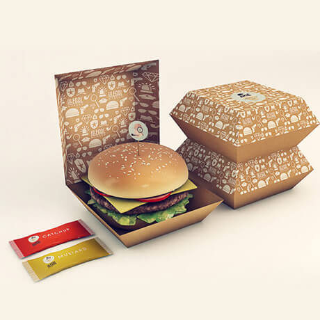 Customized Brown Kraft Paper Burger Box Hamburger Box