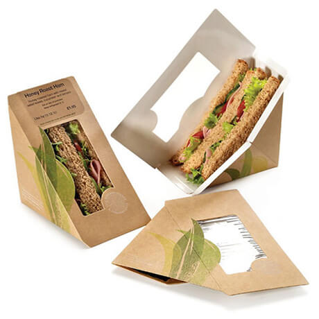 Customized Disposable Flat Packaging Folding Triangle Brown Kraft Paper Sandwich Box