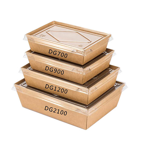 Customized Biodegradable Food Container Packaging Salad Box Disposable Kraft Paper Lunch Box