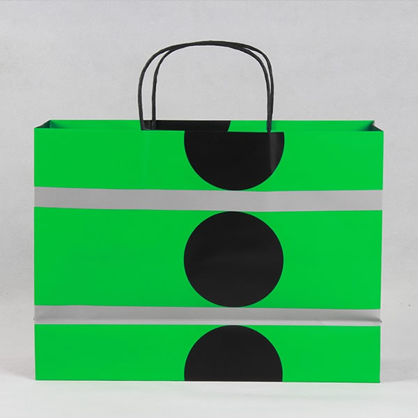 Bright Green Black Round High-end Cosmetic Copperplate Paper Bag Customization