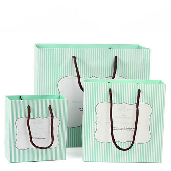 Matcha White Stripe Delicate Cosmetics White Cardboard Paper Bag Custom