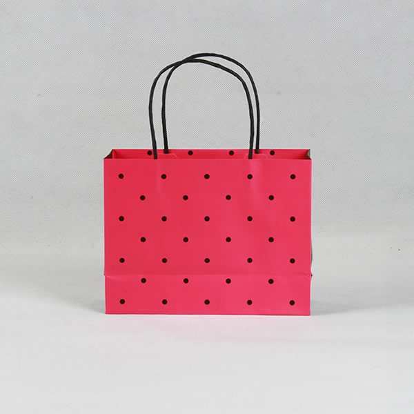 Rose Red Black Dot Fashion Copper Plate Gift Paper Bag Custom