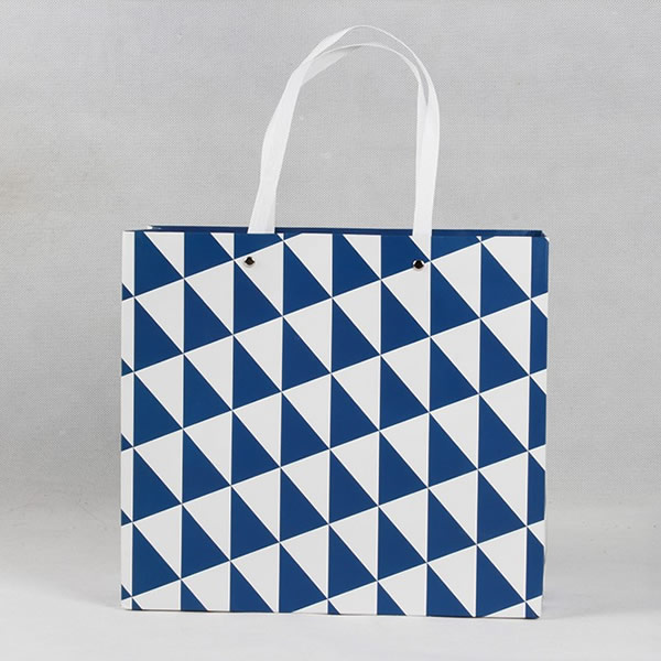 Royal Blue Triangle Personalized Gift Coated Paper Bag Customization